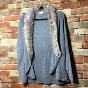 Calvin Klein cardigan removable faux fur